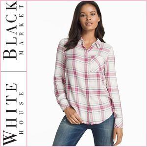 WHBM Plaid Button Up Shirt